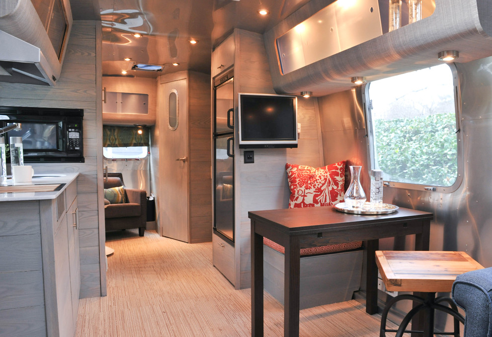 Airstream Renovation for Contemporary Dining Room with Small Kitchen