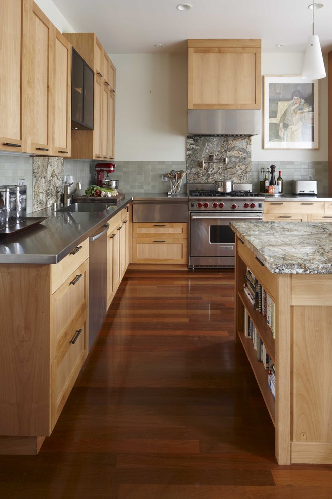 Alder Cabinets for Transitional Kitchen with Wood Cabinet