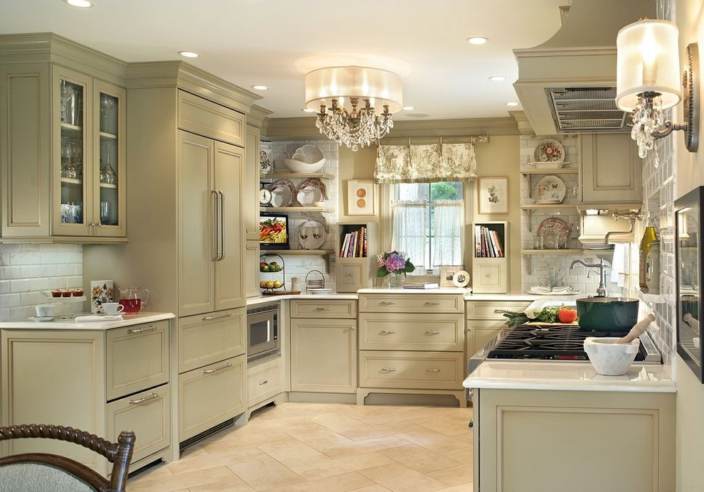 Allied Refrigeration for Shabby-Chic Style Kitchen with Chandelier
