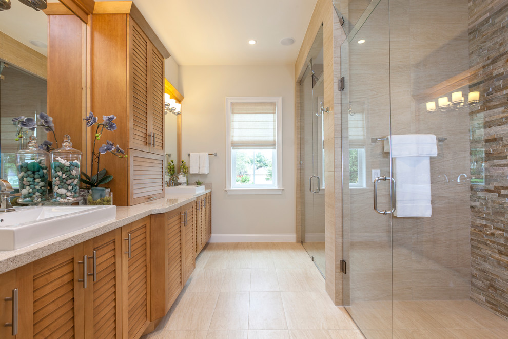 American Olean for Transitional Bathroom with Glass Shower