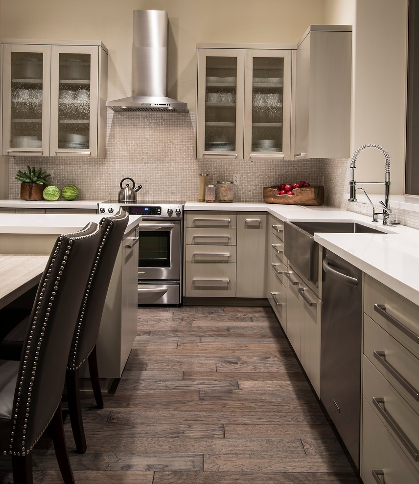 Armstrong Cabinets for Transitional Kitchen with Kitchen Table