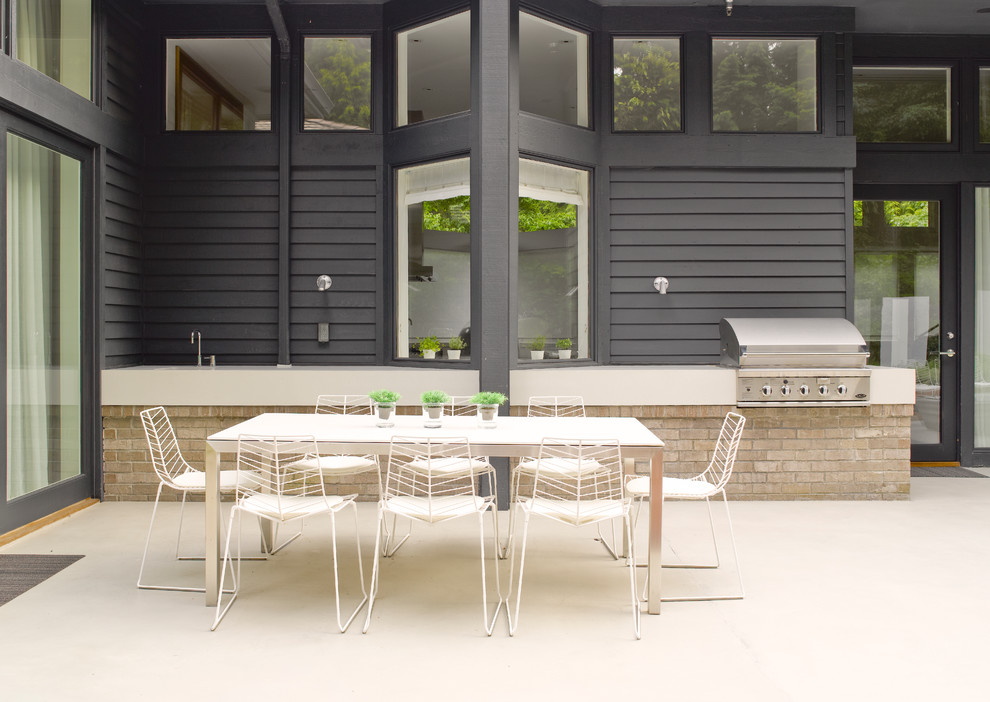Arper Furniture for Contemporary Patio with Outdoor Barbecue