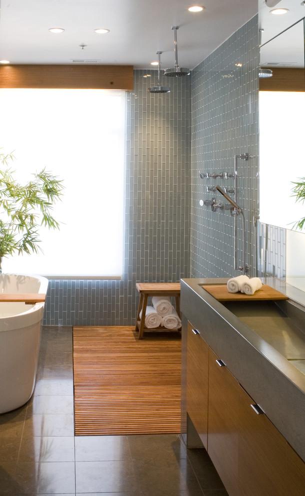 Asbestos Floor Tiles for Contemporary Bathroom with Wood Vanitylarge Sink