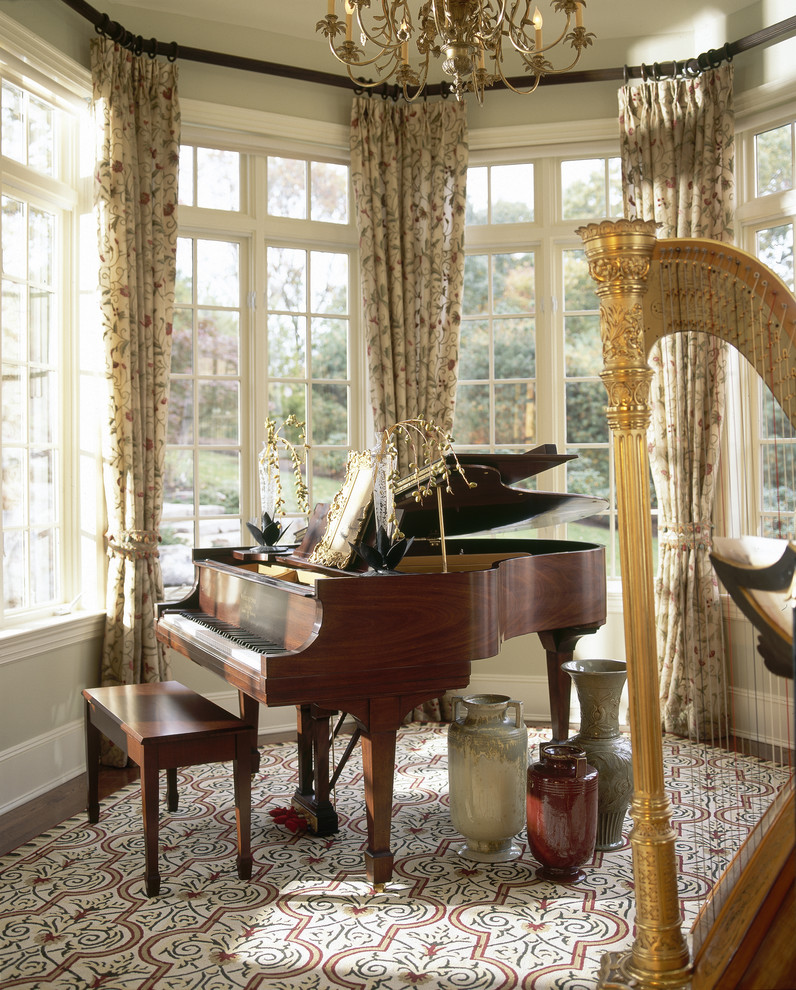 Baby Grand Piano Dimensions for Traditional Living Room with Drapes