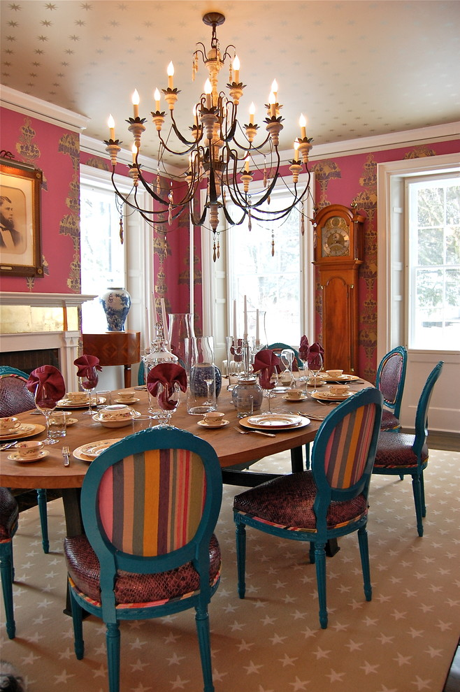 Back Page San Francisco for Contemporary Dining Room with Beige Patterned Wallpaper