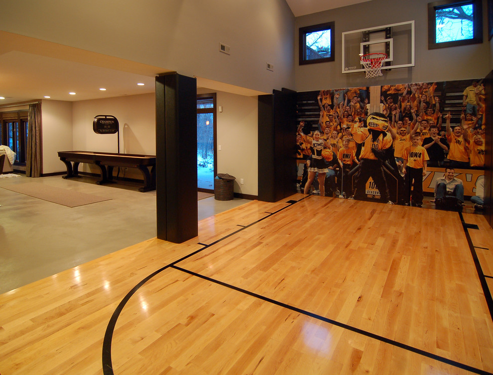 Basketball Court Measurements for Modern Home Gym with Wood Floor