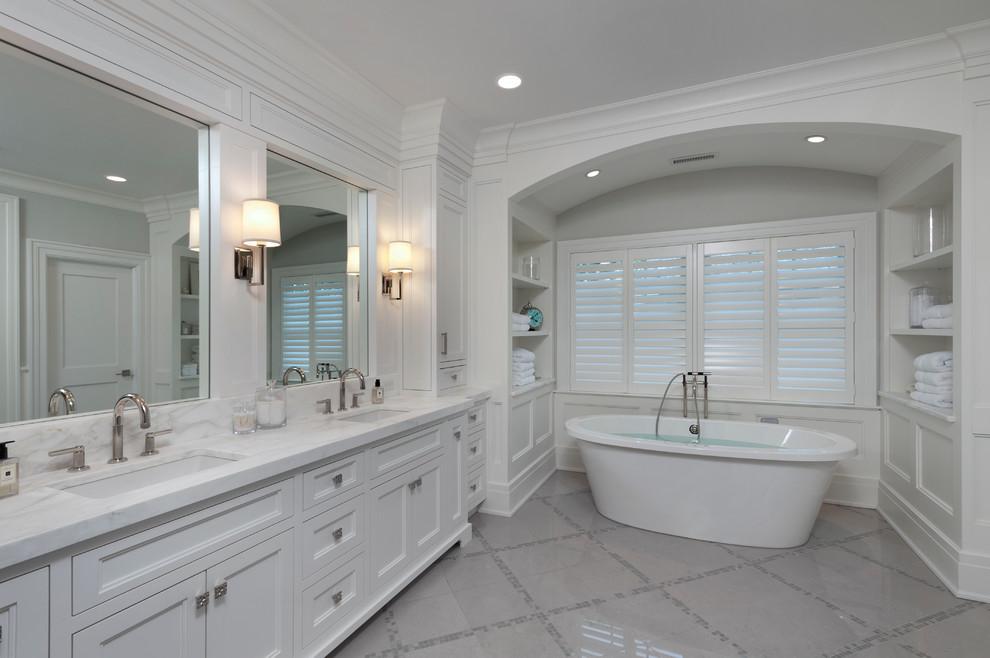 Beachside Nantucket for Transitional Bathroom with Karen Berkemeyer Home