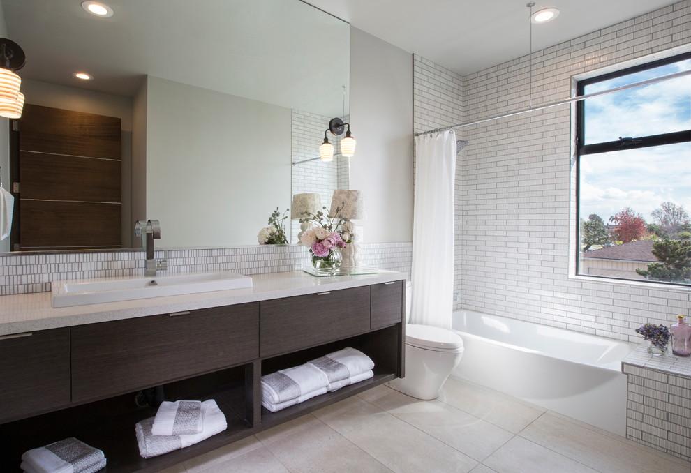 Beaver Tile for Contemporary Bathroom with White Countertop
