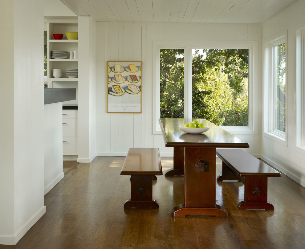 Benjamin Moore Dove White for Transitional Dining Room with Fruit Bowl