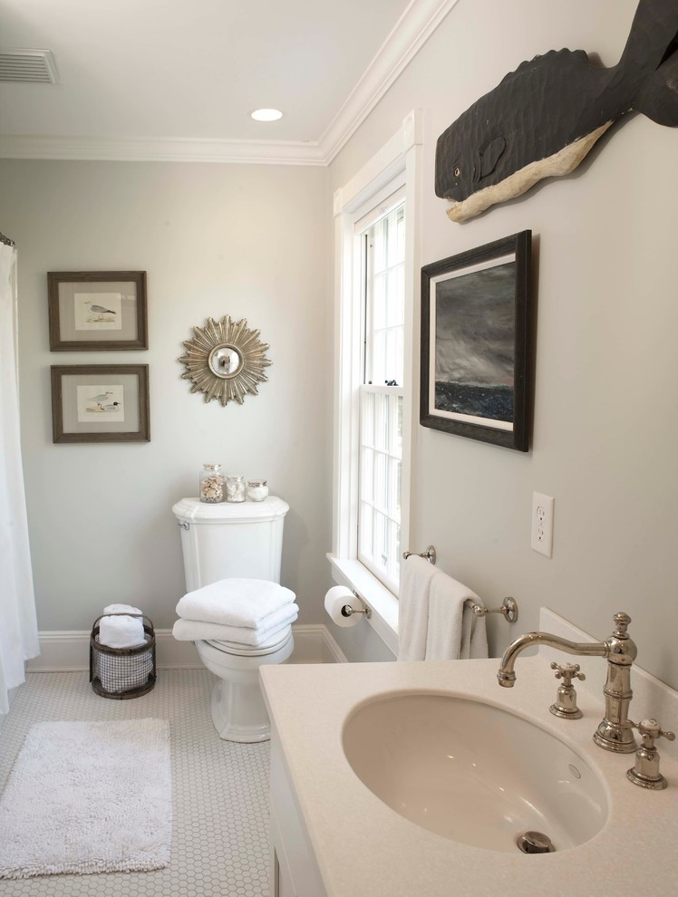 Benjamin Moore Edgecomb Gray for Traditional Bathroom with Double Hung Windows