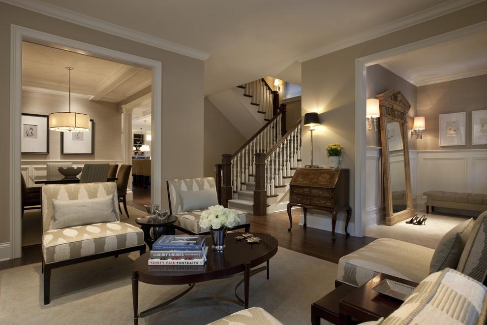 Benjamin Moore Grant Beige for Traditional Living Room with Floor Mirror