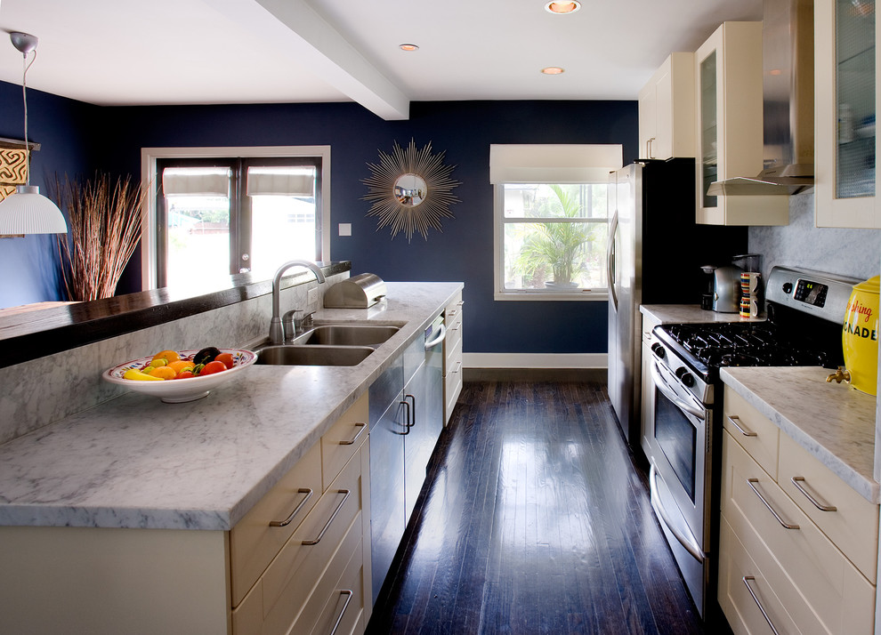 Benjamin Moore Hale Navy for Contemporary Kitchen with Ceiling Lighting