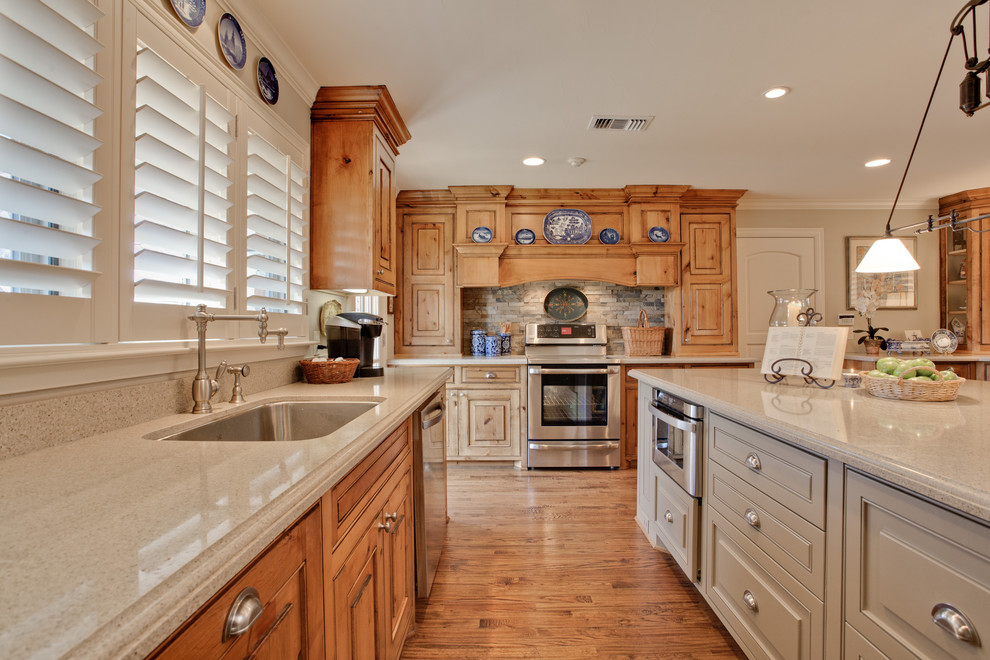 Benjamin Moore Muslin for Traditional Kitchen with Plantation Window Shutters
