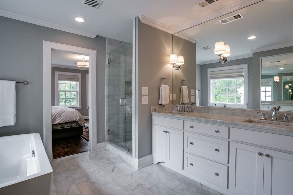 Benjamin Moore Paint Home Depot for Traditional Bathroom with Large Mirror