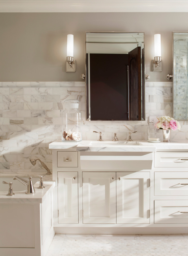 Benjamin Moore Revere Pewter Color Match for Traditional Bathroom with Bathroom Mirror