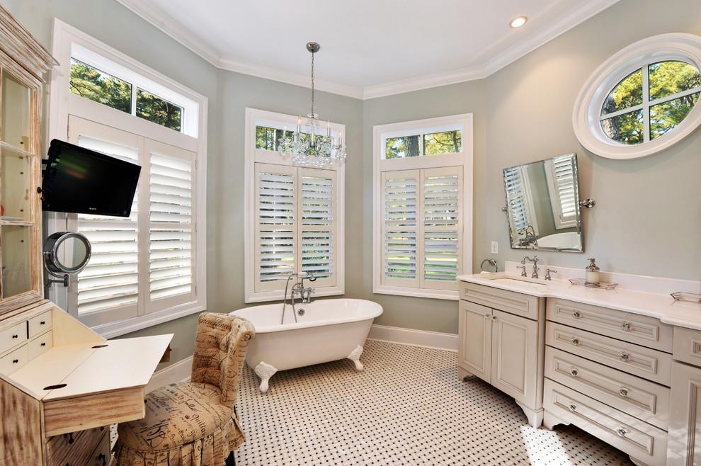 Benjamin Moore Sea Salt for Beach Style Bathroom with Bathroom Mirror