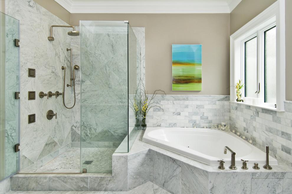 Benjamin Moore Silver Fox for Transitional Bathroom with Drop in Bathtub