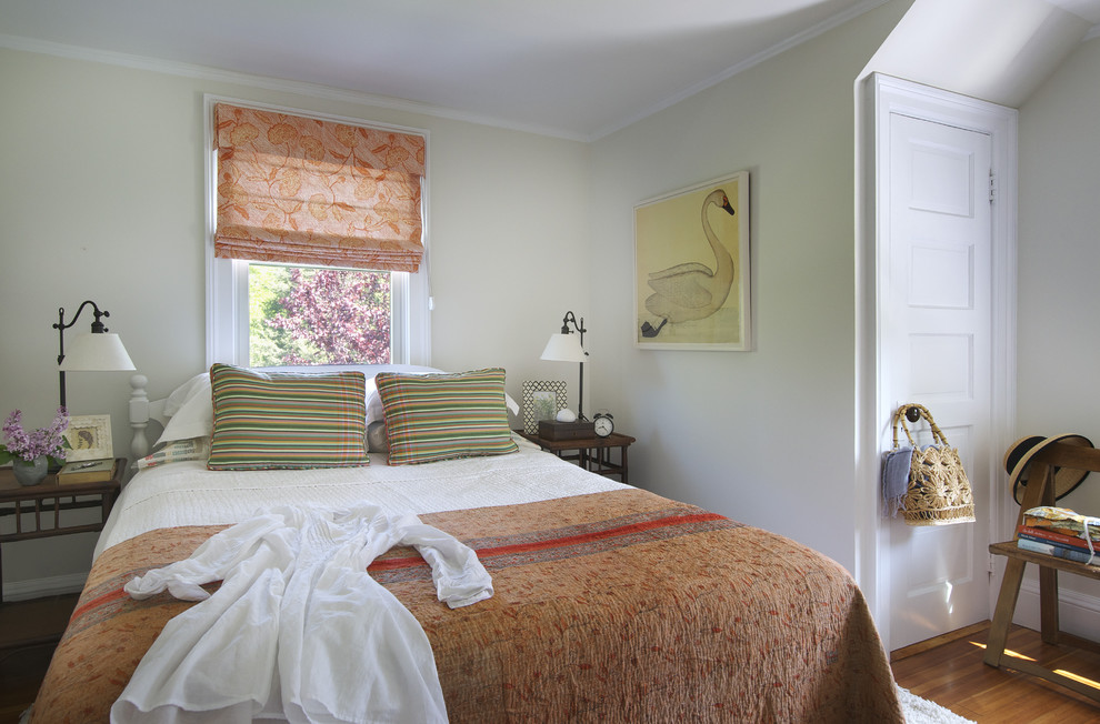 Benjamin Moore Swiss Coffee for Beach Style Bedroom with Quadrille