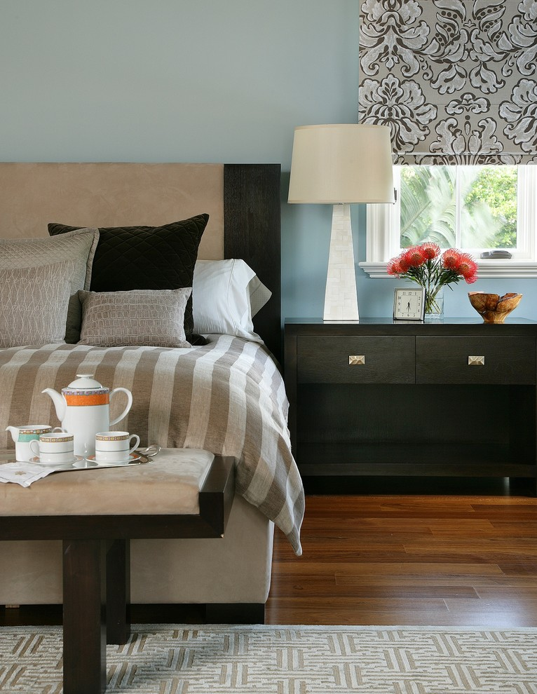 Benjamin Moore Wedgewood Gray for Contemporary Bedroom with Blue Walls