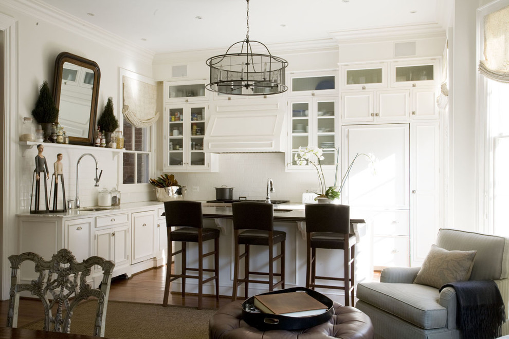 Benjamin Moore Whites for Traditional Kitchen with Shade Chandelier