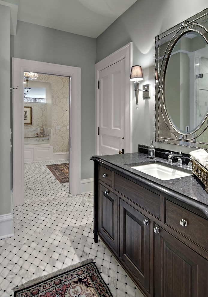 Benjamin Moore Wickham Gray for Traditional Bathroom with Blue Wall