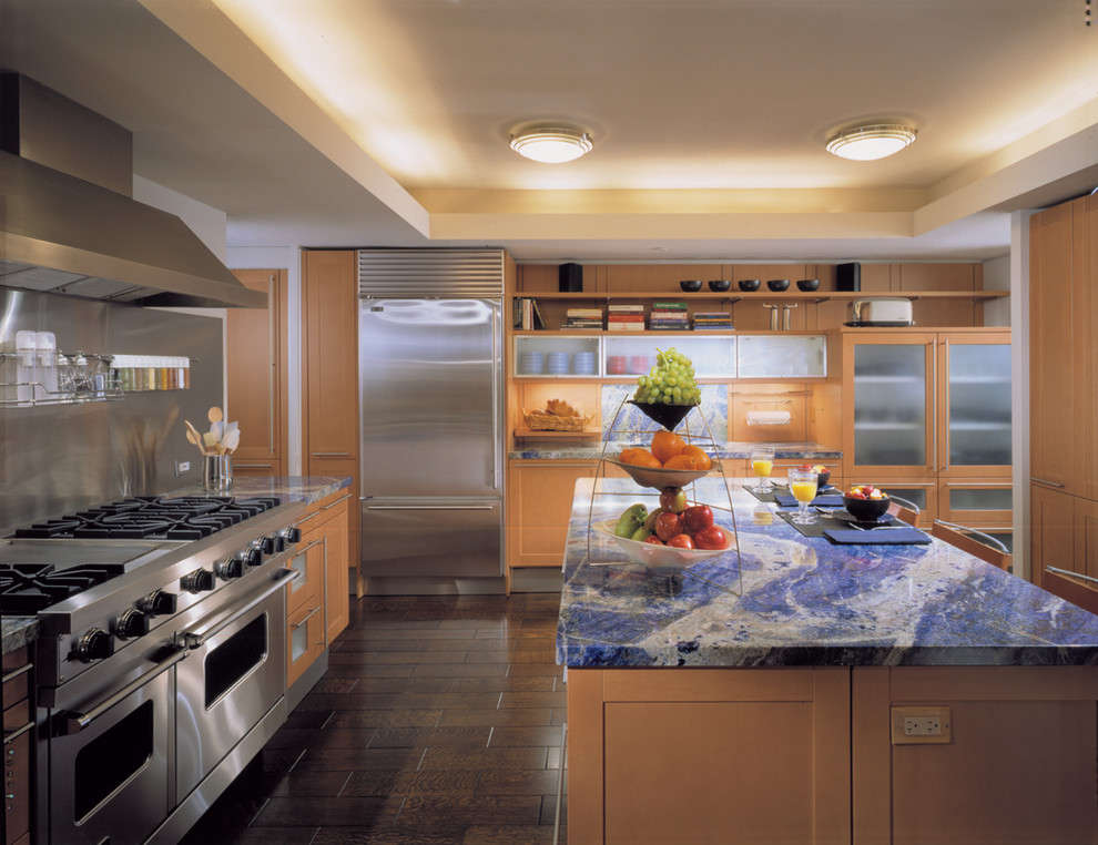Blue Bahia Granite for Contemporary Kitchen with Gas Range