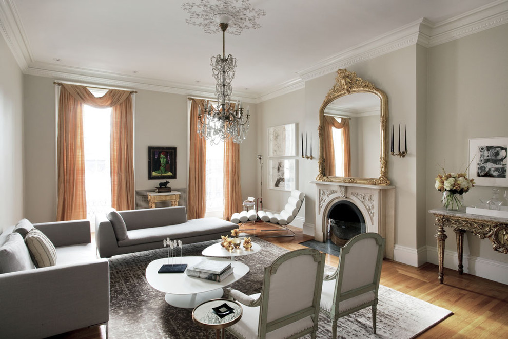 Boston Points of Interest for Eclectic Living Room with Drapes