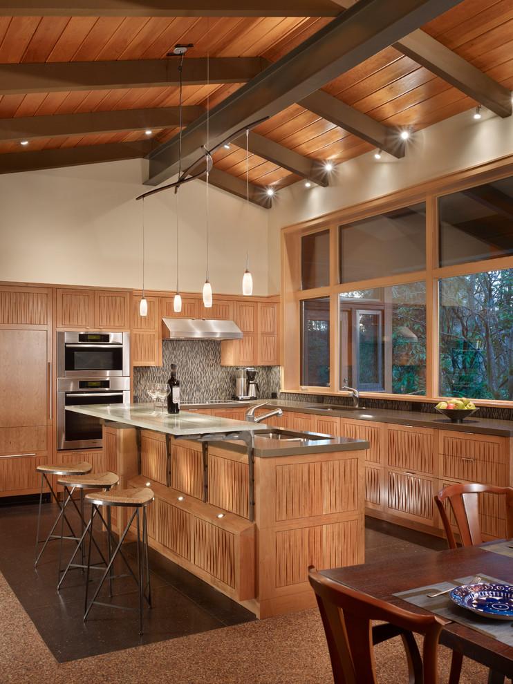 Bruck Lighting for Midcentury Kitchen with Mosaic Tile Backsplash