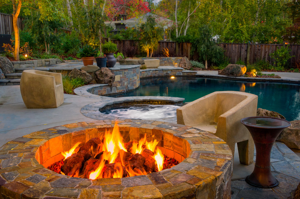 Buckeye Fire Equipment for Contemporary Pool with Wood Fence