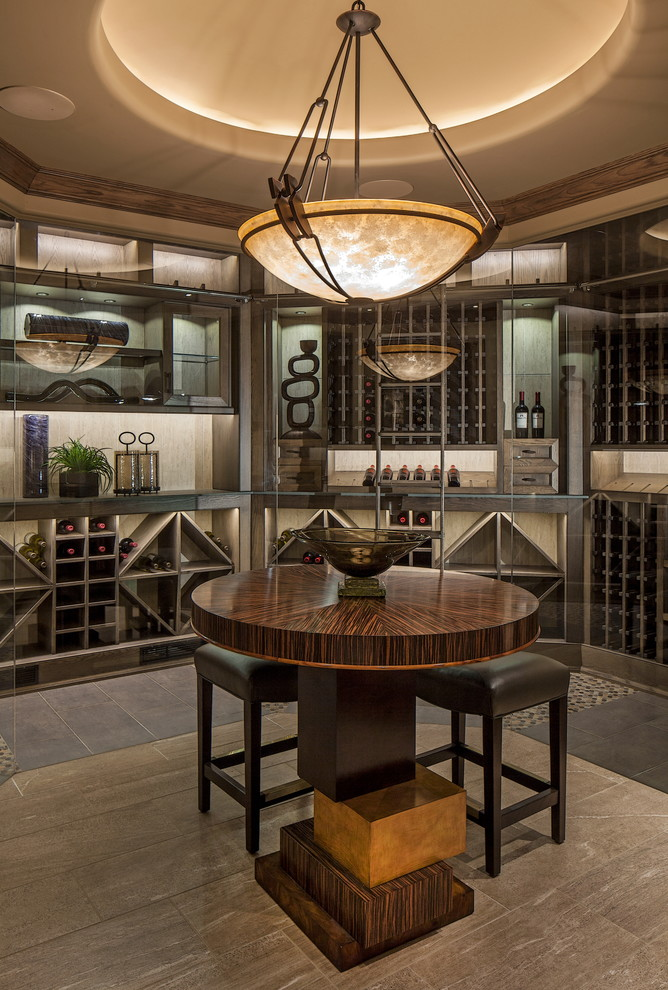 Builders Supply Omaha for Transitional Wine Cellar with Wine Glasses