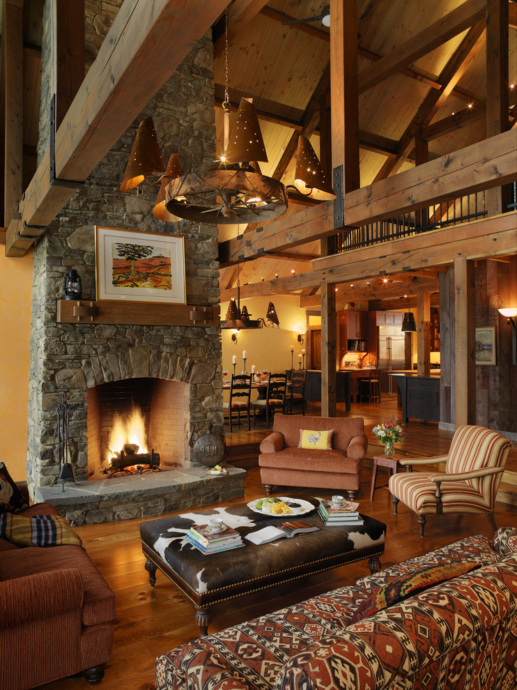 Burlington Regal for Rustic Living Room with Feildstone Fireplace