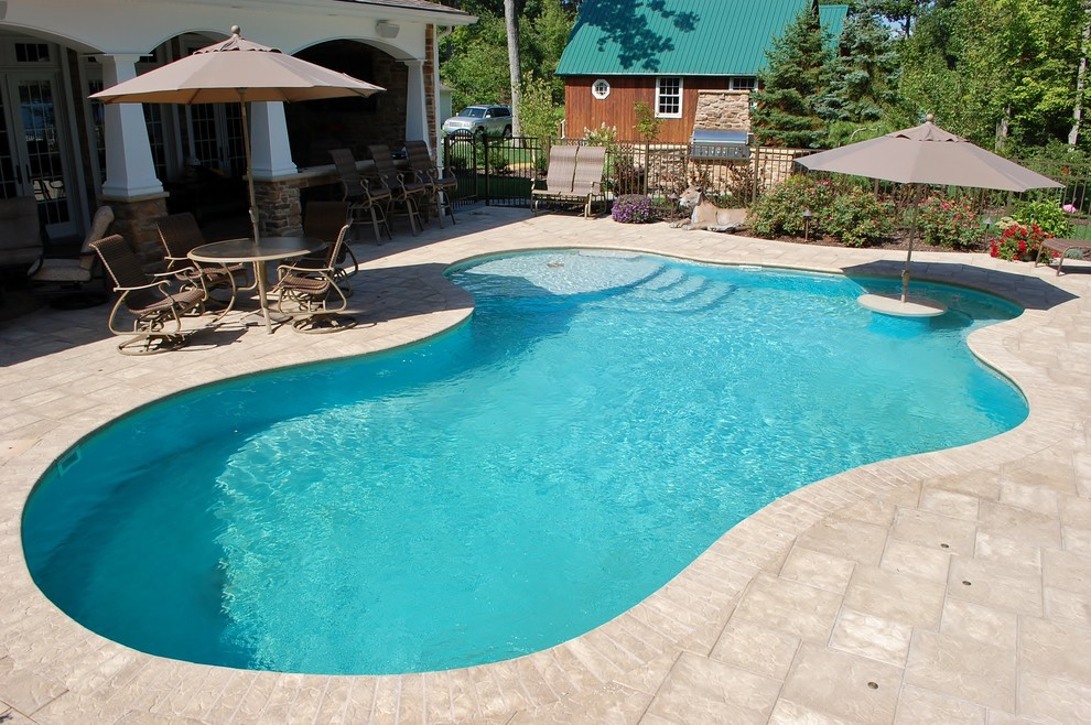 Burnett Pools for Midcentury Pool with Cuddle Cove