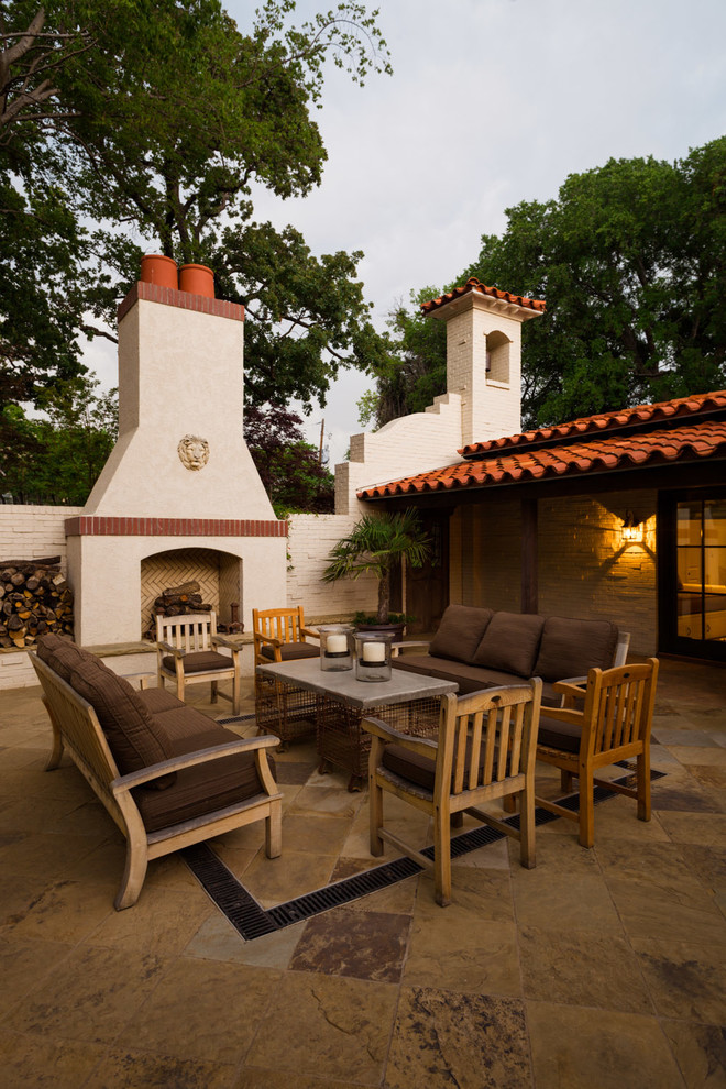 Buttercup Furniture for Mediterranean Patio with Stone Siding