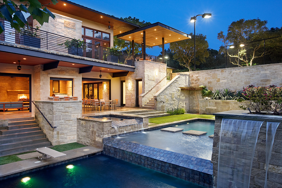 Cabot House Furniture for Contemporary Pool with Modern Outdoor Living