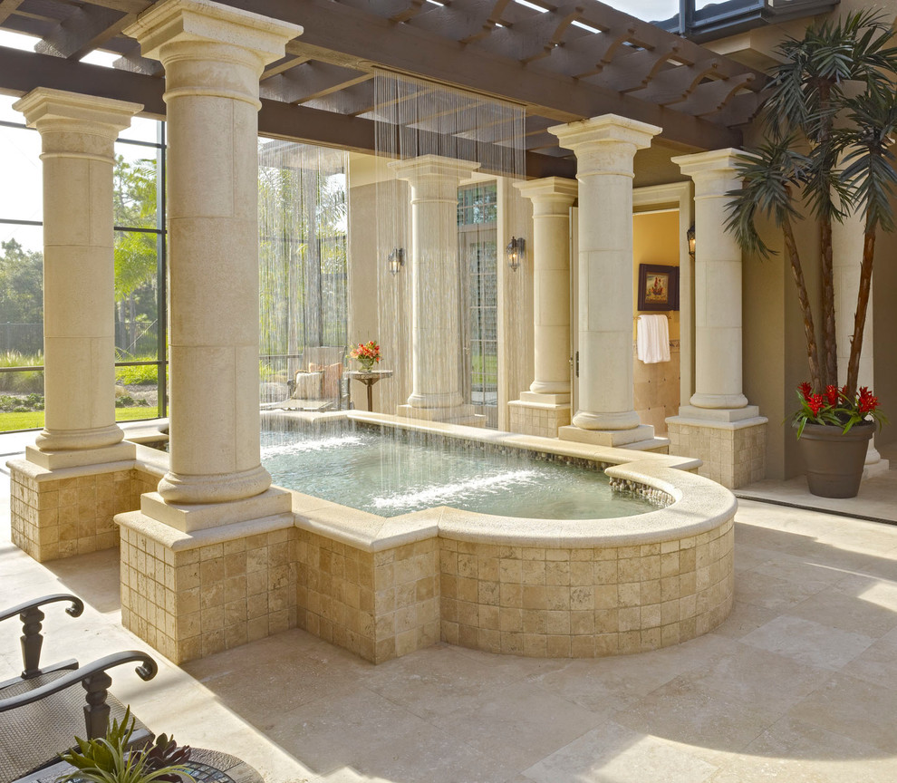 Cannon Pools for Mediterranean Pool with Beige Stone Patio