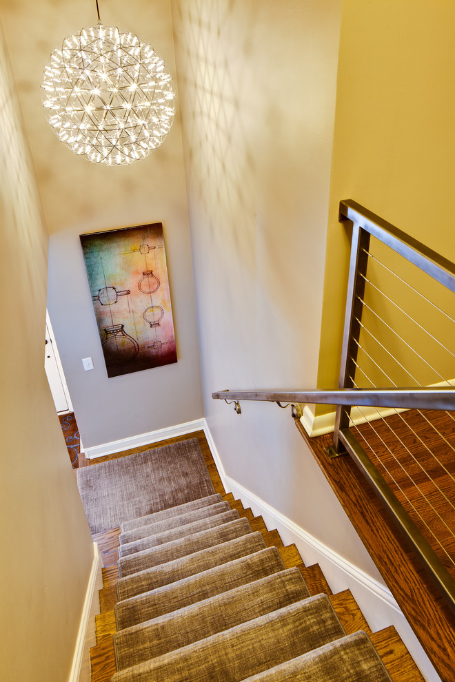 Carpeted Stairs for Modern Staircase with Staircase Runner