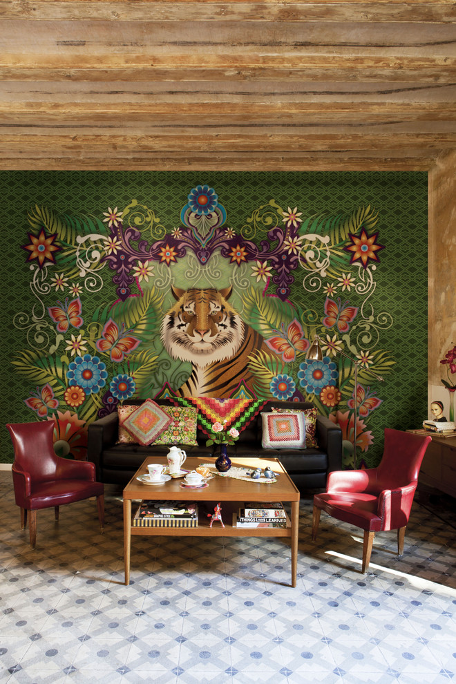 Catalina Flower for Eclectic Living Room with Red Leather Armchair