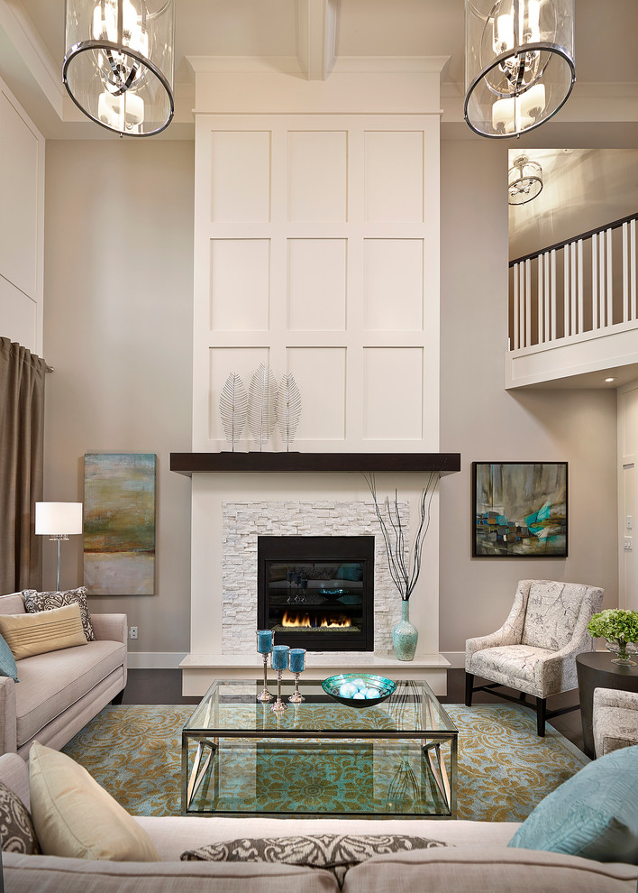 Cec Theaters for Transitional Living Room with High Ceiling