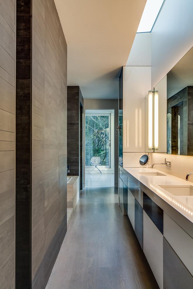 Ceramic vs Porcelain Tile for Modern Bathroom with Makeup Mirror