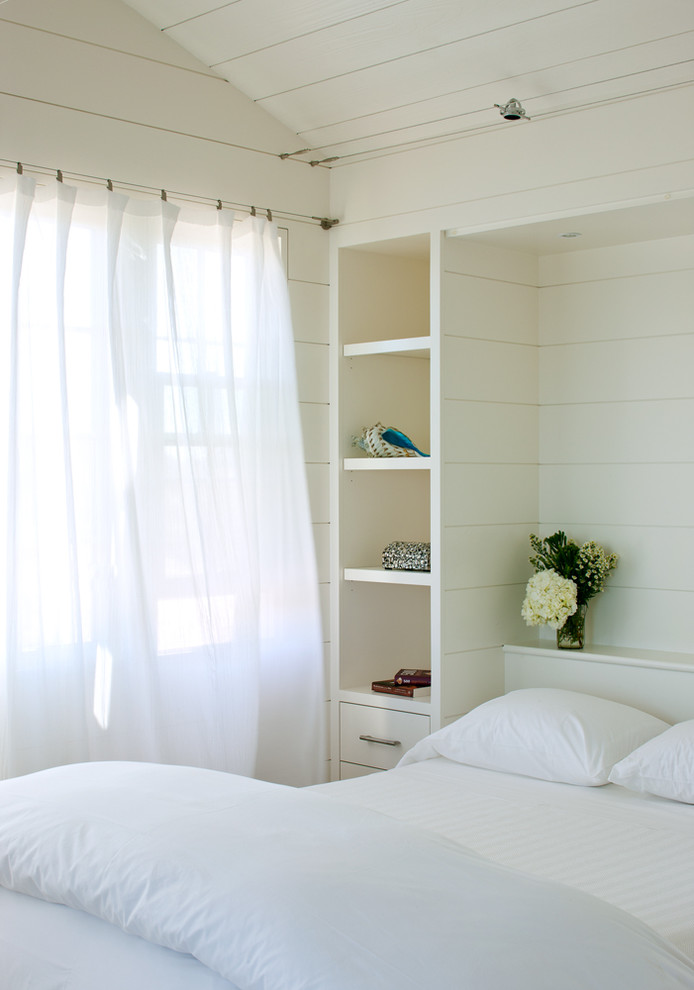 Clap Board for Beach Style Bedroom with Window Treatments