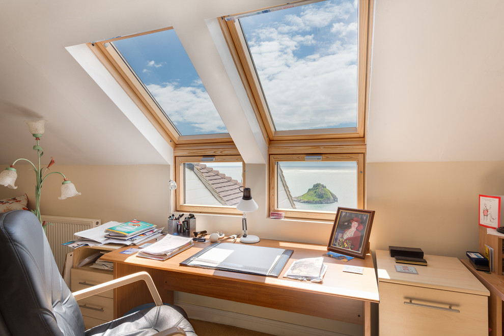 Cleaning Windows with Vinegar for Traditional Home Office with Seaside