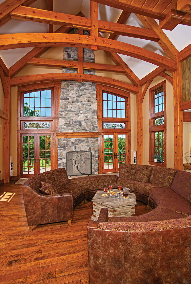 Clovis Glass for Traditional Living Room with Dark Wood Cabinetry