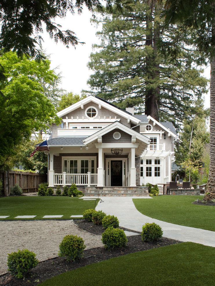 Composition Shingles for Traditional Exterior with White Railing