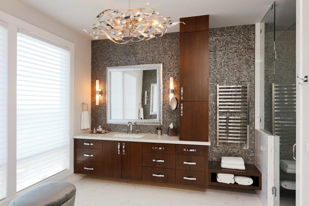 Contract Furnishing Mart for Contemporary Bathroom with Glass Mosaic Tile