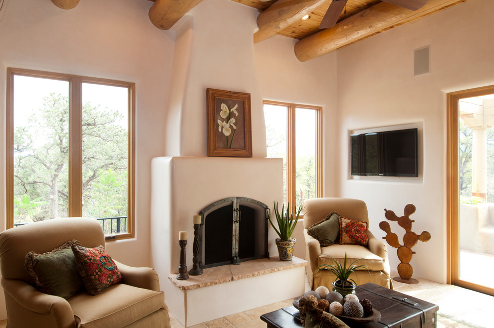 Craiglist Santa Fe for Southwestern Living Room with Exposed Wood Log Beams