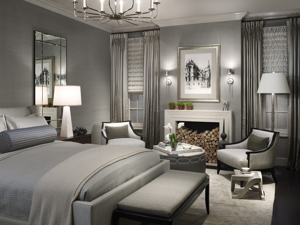 Craigslist Chicago Furniture for Transitional Bedroom with Roman Shades