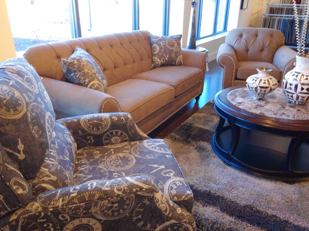 Crowley Furniture for Transitional Family Room with Beige Sofa