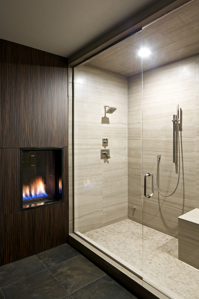 Dahl Plumbing for Contemporary Bathroom with Raised Gas Fireplace