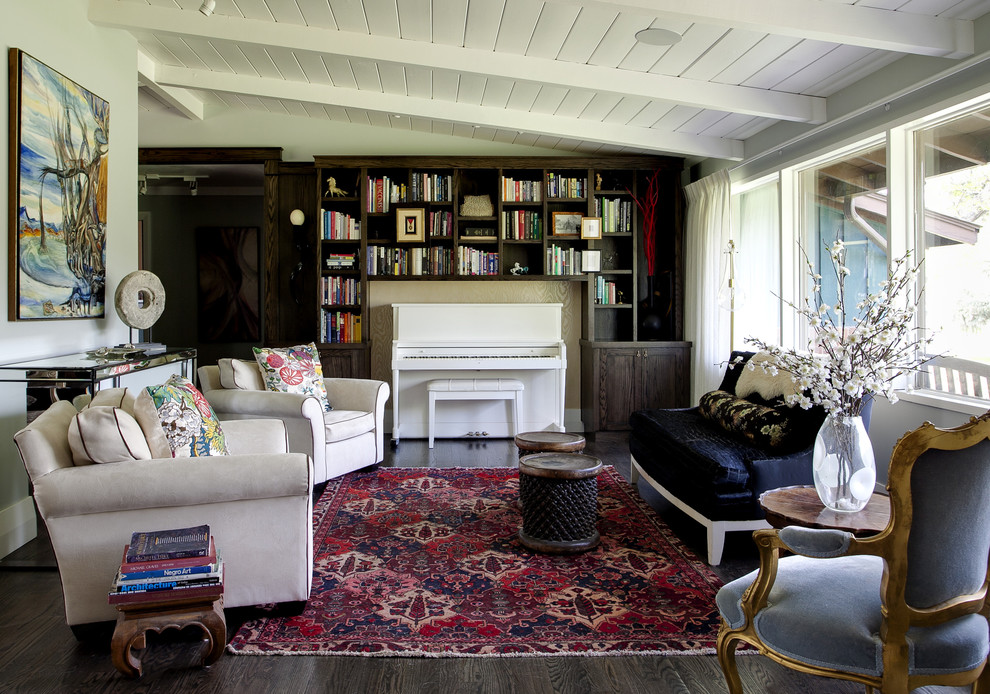 Decluttering for Contemporary Family Room with Drapes