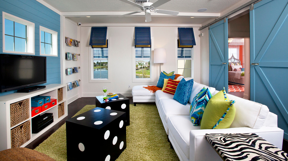 Domino Mag for Beach Style Family Room with Ocean